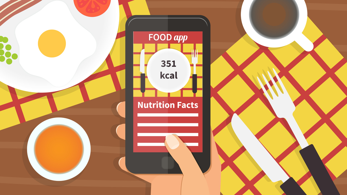 Illustration of phone with food app