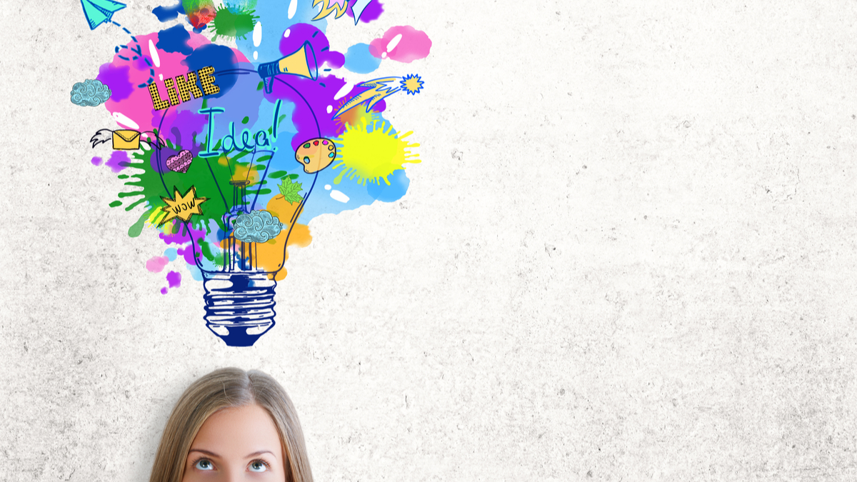 Photo illustration of woman with light bulb over her head bursting with ideas
