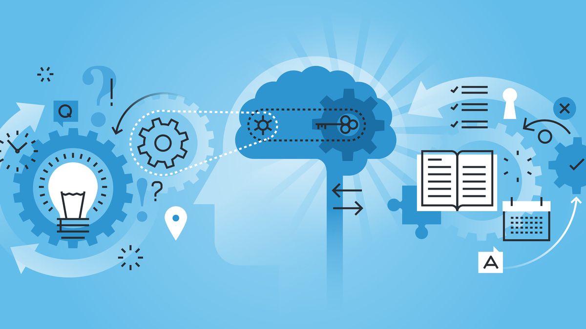 Stylized illustration of light bulb, brain, book, computer