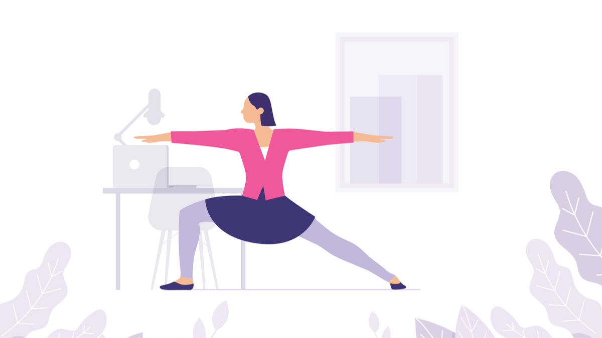 Illustration of woman taking yoga break at desk