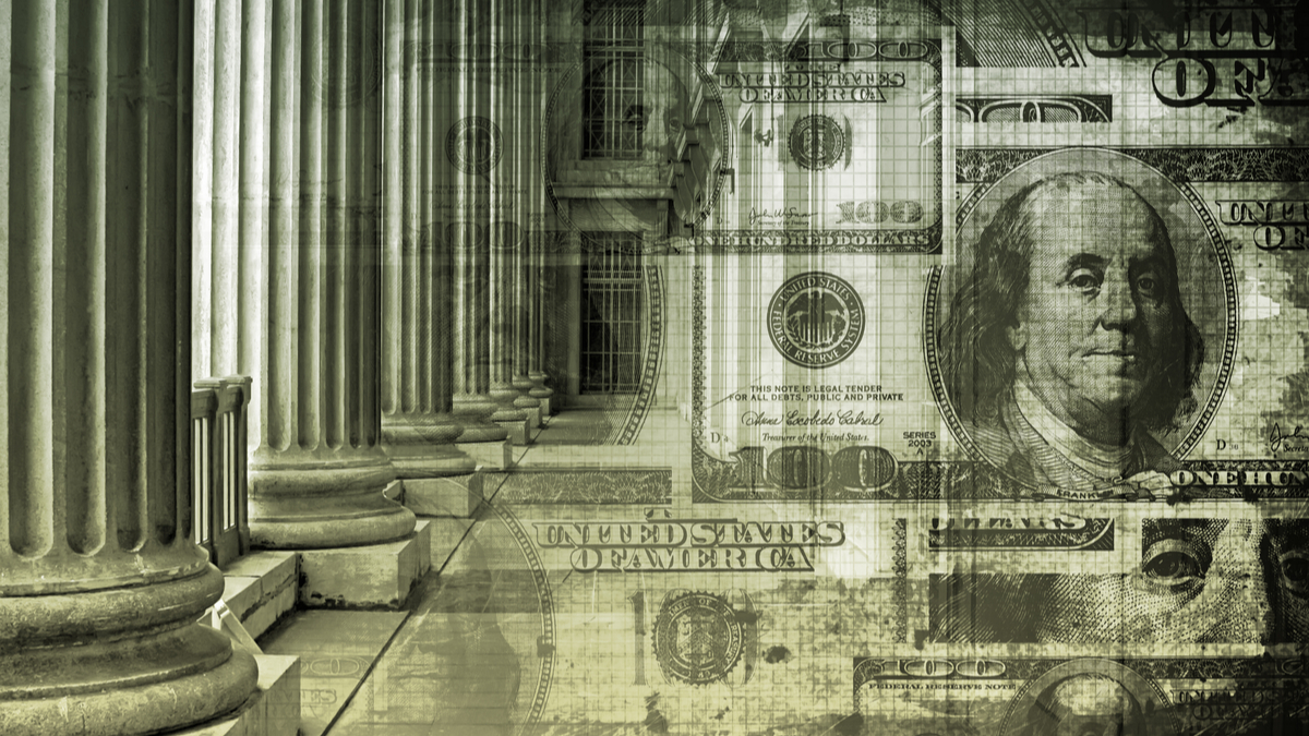 Photo illustration of government building and U.S. currency