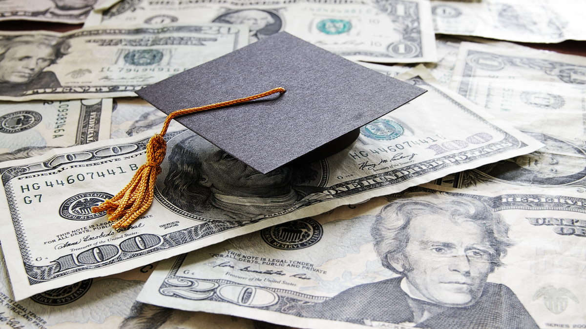 Photo illustration of mortarboard and cash