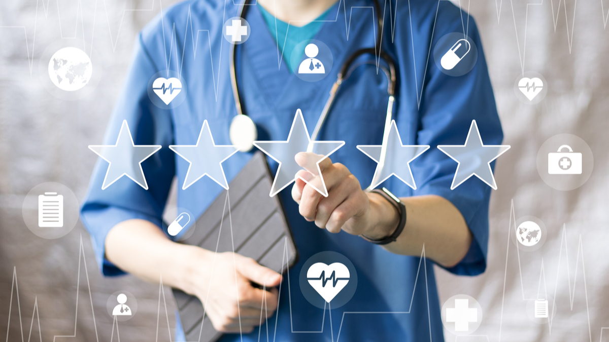 Photo illustration of doctor and star rating
