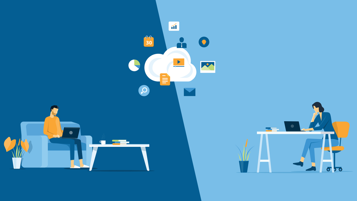 Illustration of two people working separately at laptops with cloud of ideas between them