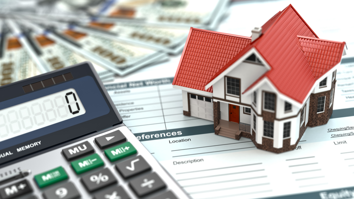Photo illustration with mortgage application, calculator, money, and model house
