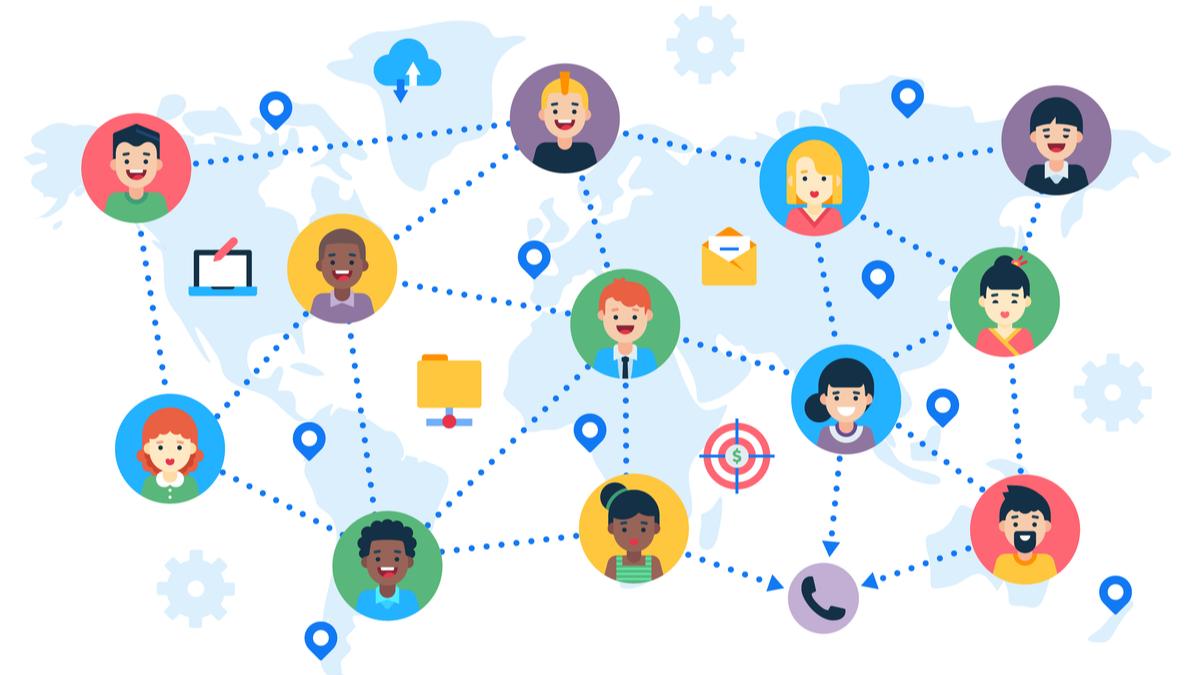 Illustration of global network of team members