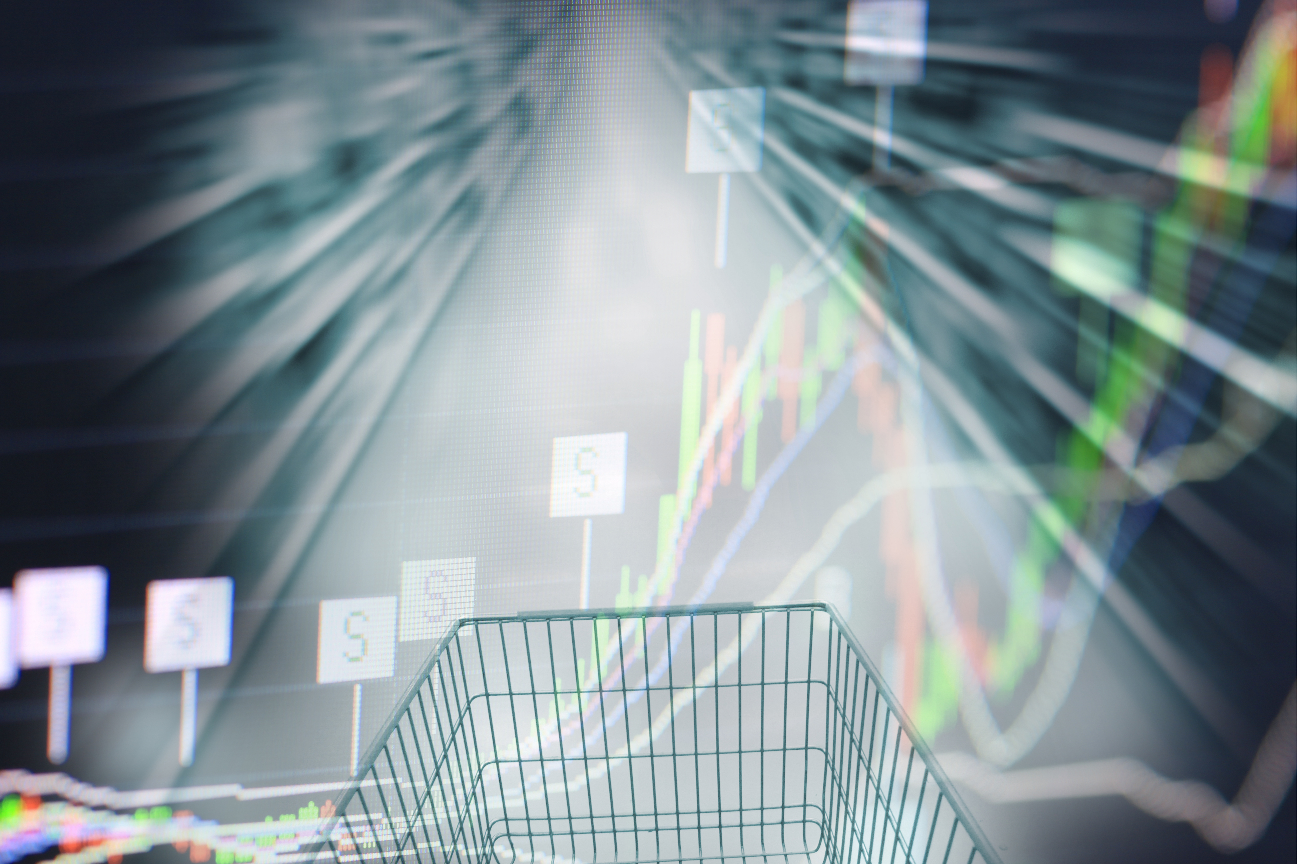 Photo illustration of shopping cart and business graph