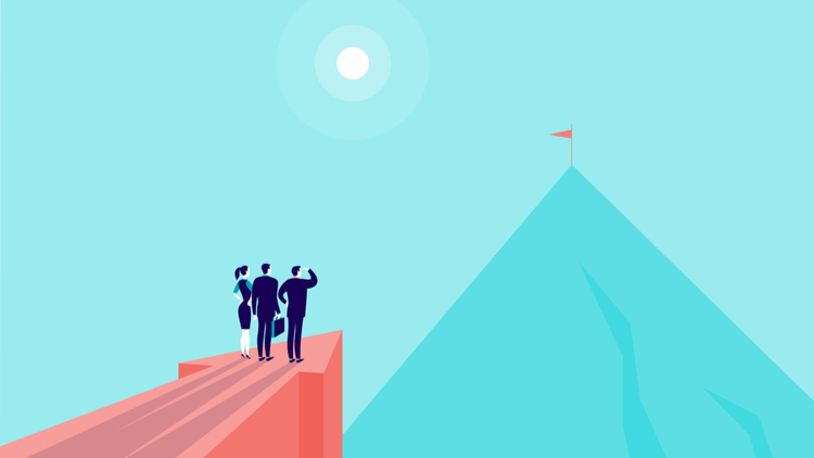 Illustration of business people looking toward a mountaintop