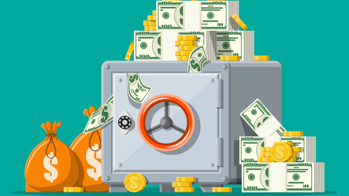 Illustration of safe and cash
