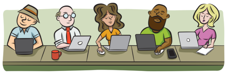 Illustration of people on laptops in coworking space