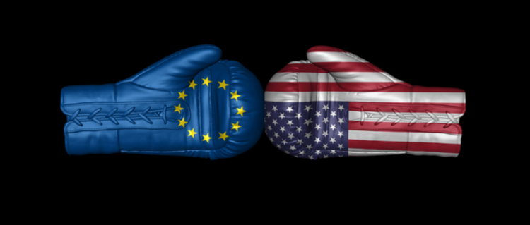 Boxing gloves with flags of U.S.A. and European Union