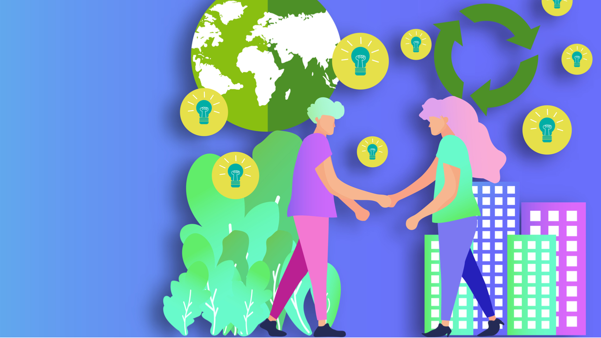 Illustration of people shaking hands with business and environmental imagery