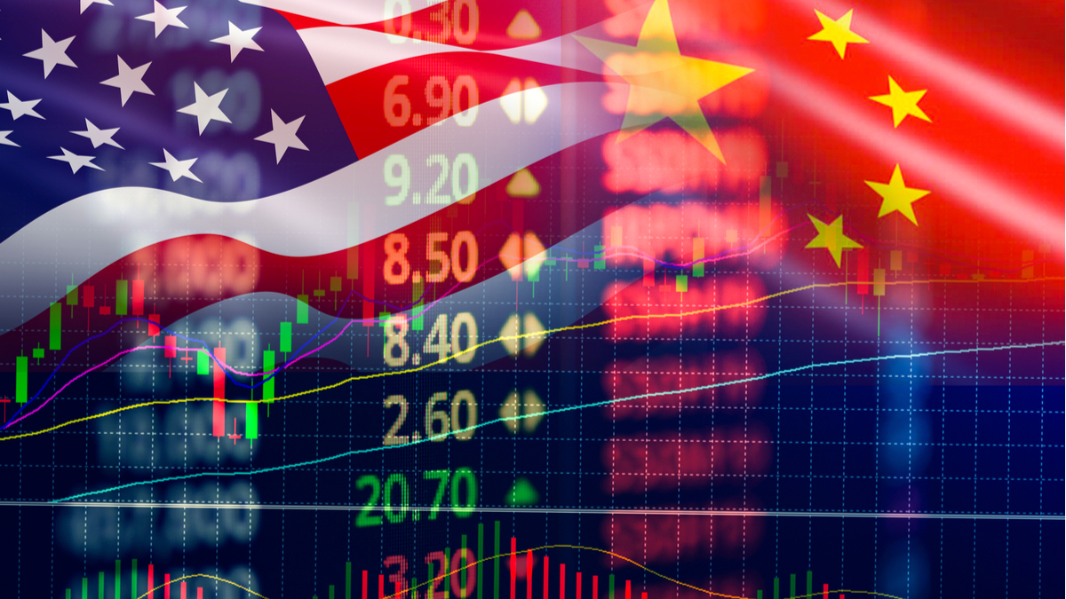 Photo illustration with U.S. and China flags, stock ticker