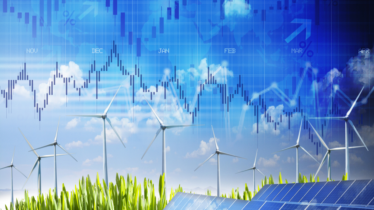 Photo illustration of of solar panels and windmills with business graph