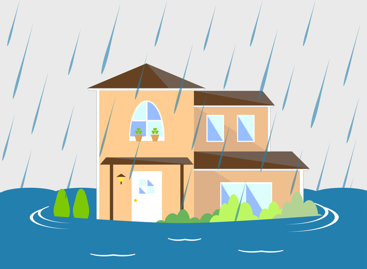Illustration of house in flood