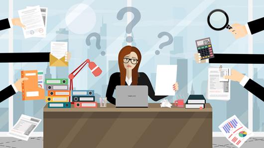 Illustration of multitasking business woman