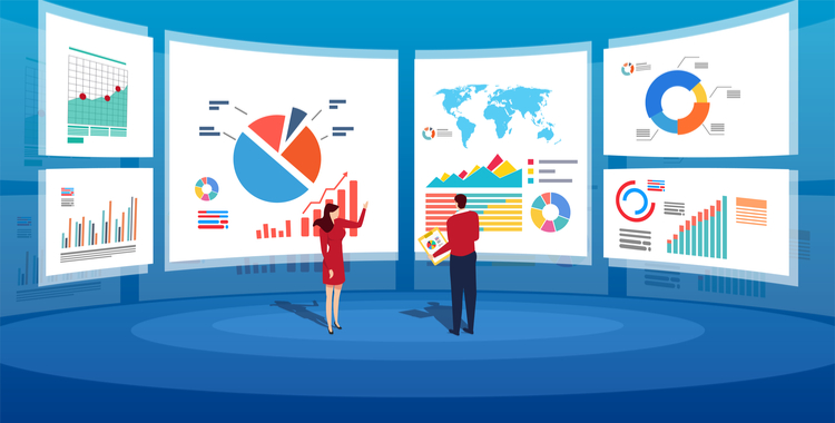 Illustration of business people in front of screens full of charts and graphs