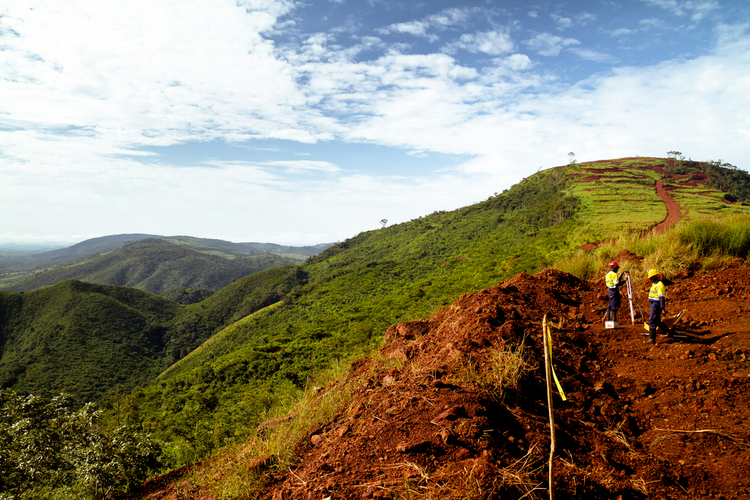Mining surveyors in Sierra Leone countryside