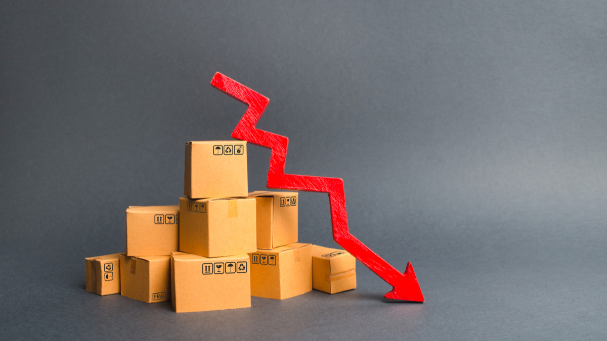 Photo illustration of packages and down arrow