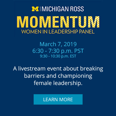 MOMENTUM: March 7, 20196:30 - 7:30 p.m. PST9:30 - 10:30 p.m. EST A livestream event about breaking barriers and championing female leadership.
