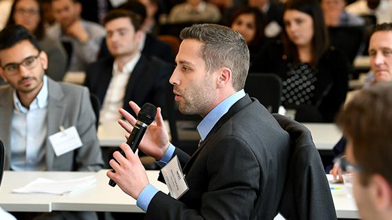 Student talking during workshop