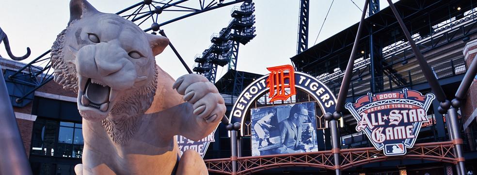 Tiger statue at Comerica Park
