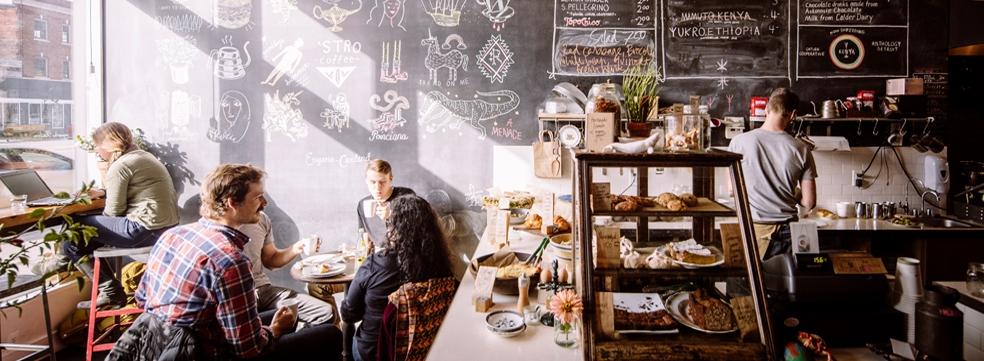 Coffee shop scene in Detroit
