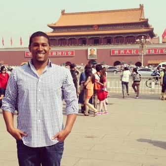 Ross MBA Jourdan Sutton visits Tiananmen Square during his participation in the short-term international course at Cheung Kong Graduate School of Business in Beijing, China.