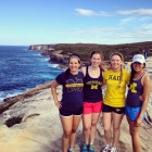 Undergraduates in the Australia Study and Intern Program trek the Coastal Walk outside Sydney after a busy week at their internships.