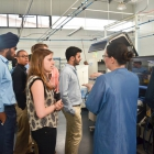 Undergraduate Zoe Zaiss asks questions during a company visit to General Microcircuits Inc in San Jose, Costa Rica. High-tech products are Costa Rica's top export.