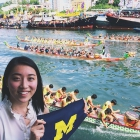 Global intern Angela Wang watches the dragon boat races in Hong Kong.