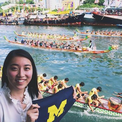Global intern Angela Wang watches the dragon boat races in Hong Kong.