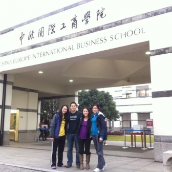 Ross MBAs on exchange capture a photo with their host school, China Europe International Business School in Shanghai.
