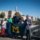 Ross MBA Doing Business in Israel students show their Michigan pride in Tel Aviv.