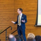 Michigan Ross Dean Scott DeRue speaks at the 2017 Scholarship Recognition Dinner.