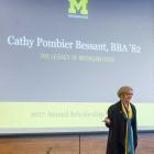 Alumna Cathy Pombier Bessant, BBA '82, speaks at Scholarship Dinner.