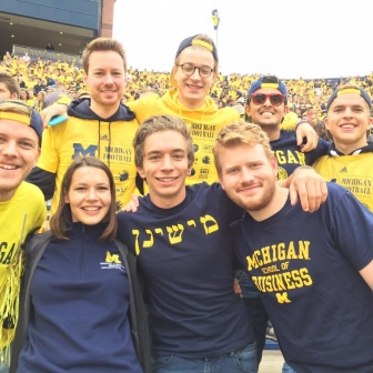 Ross exchange students experience the excitement of a University of Michigan football game at the Big House