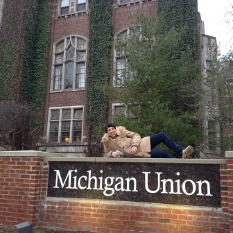 An exchange student visits the iconic Michigan Student Union building