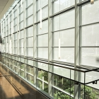 Lighting power use is reduced through the use of task lighting, efficient light fixtures, occupancy sensors, and the integration of natural daylighting.