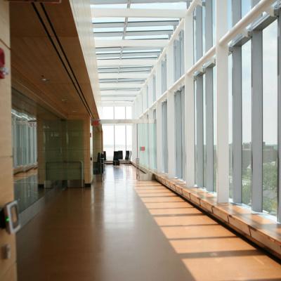 Skylights and windows provide lighting on the sixth floor of Ross