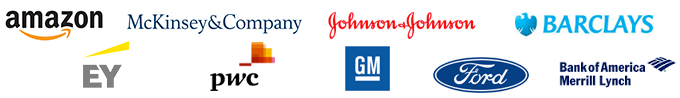 Logos for :Amazon, McKinsey & Co, EY, PwC, General Motors Corp., Ford, Bank of America-Merrill Lynch Inc, Barclays