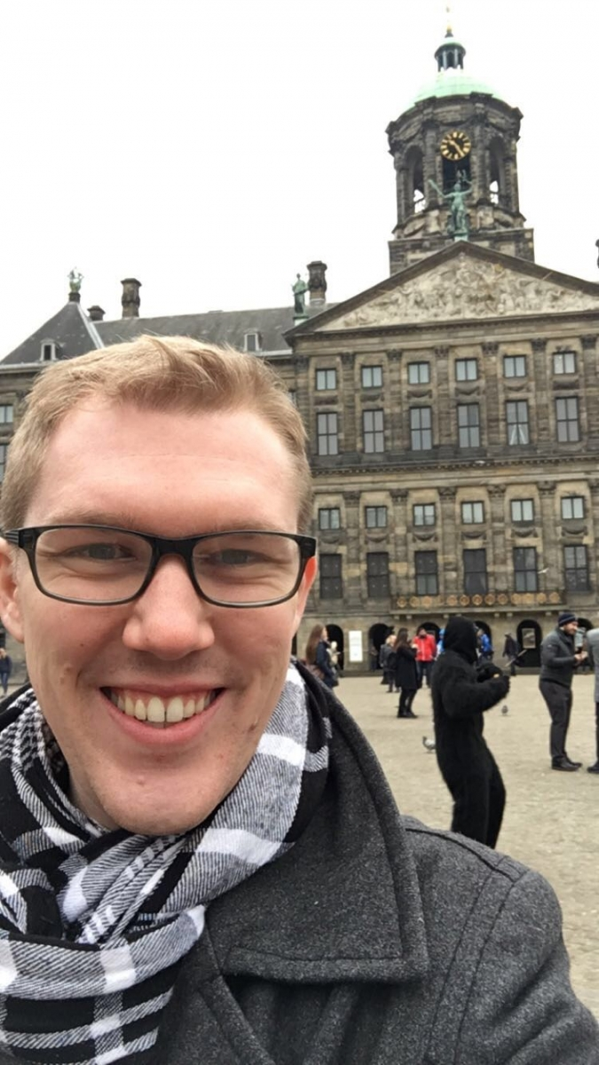 Charlie exploring the Royal Palace of Amsterdam