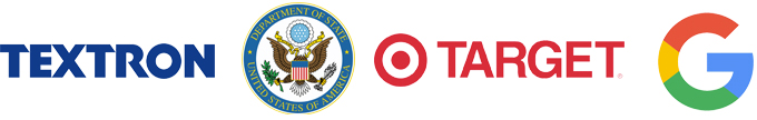 Logos for textron, target ,google and dept of state