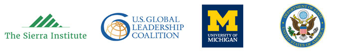 Logos for Sierra Institute, US Global Leadership Coalition, US State Department