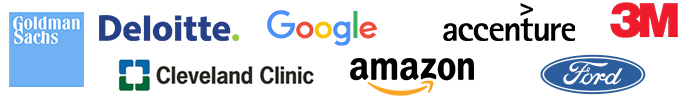 Logos for :Amazon, McKinsey & Co, EY, PwC, General Motors Corp., Ford, Bank of America-Merrill Lynch Inc,, Barclays