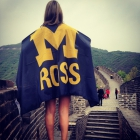 Undergraduate Lyndsey Housman represents Ross on the Great Wall during the China May International Course.
