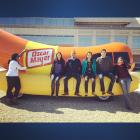 The Wienermobile. The Kraft MAP team take a break on it.