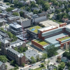 An aerial view of the Michigan Ross construction project, which is creating a unified complex bordered by Tappan Avenue, Hill Street, and East University Avenue.